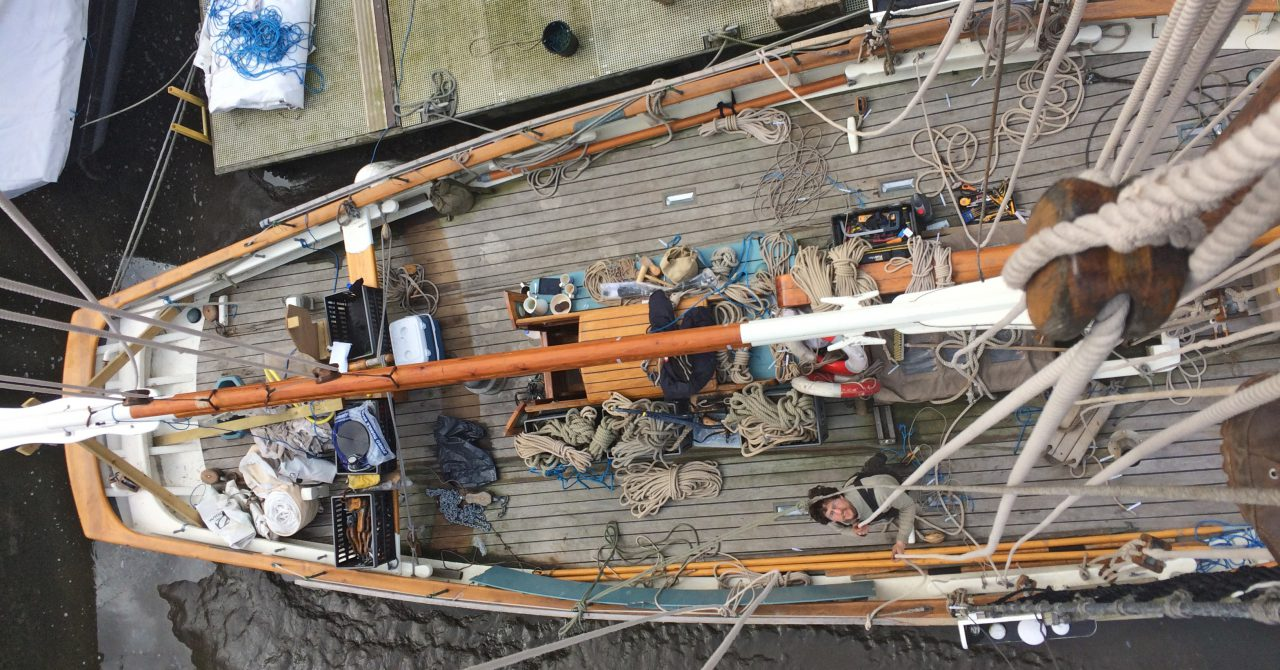 Re-rigging prior to departure from Cornwall